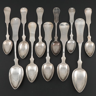 Richard Clayton Coin Silver Fiddle Handle Spoons, Mid-19th Century