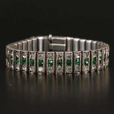 Circa 1930 Leach and Miller Co. Sterling Rhinestone Bracelet