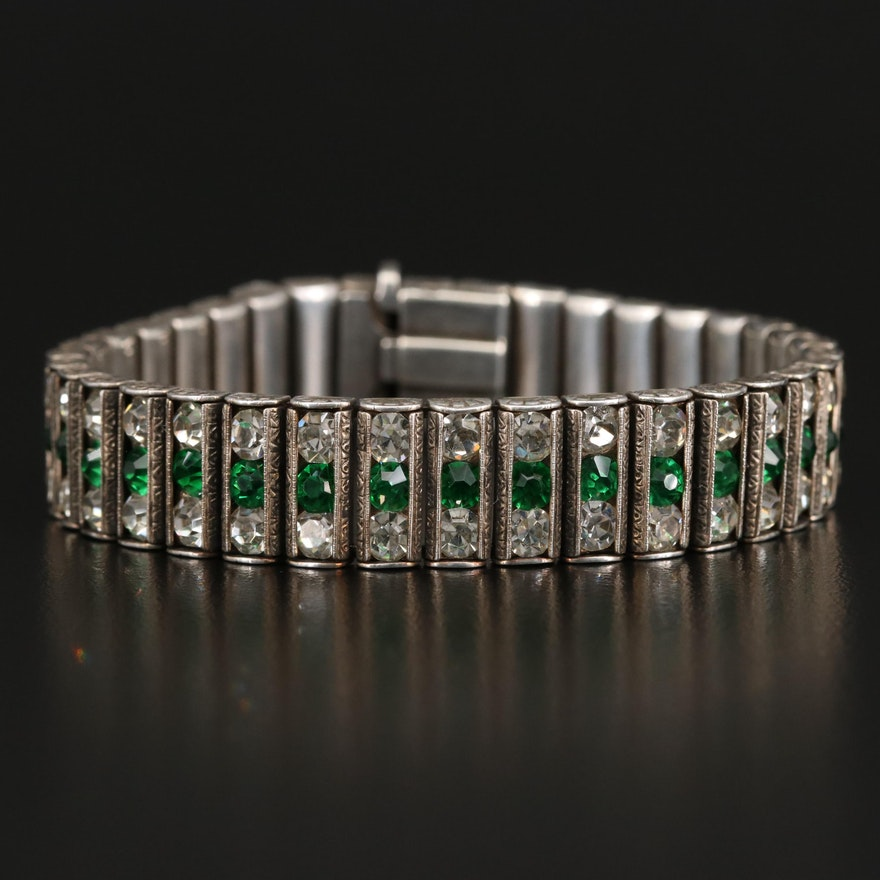 Circa 1930 Leach and Miller Co. Sterling Rhinestone Bracelet