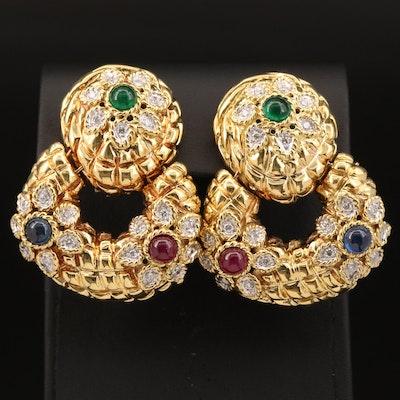 Vintage Cassis 18K 1.20 CTW Diamond and Gemstone Door Knocker Earrings