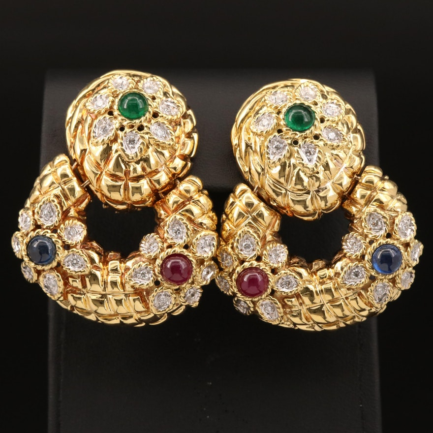 Vintage Cassis 18K 1.20 CTW Diamond and Gemstone Door Knocker Earrings