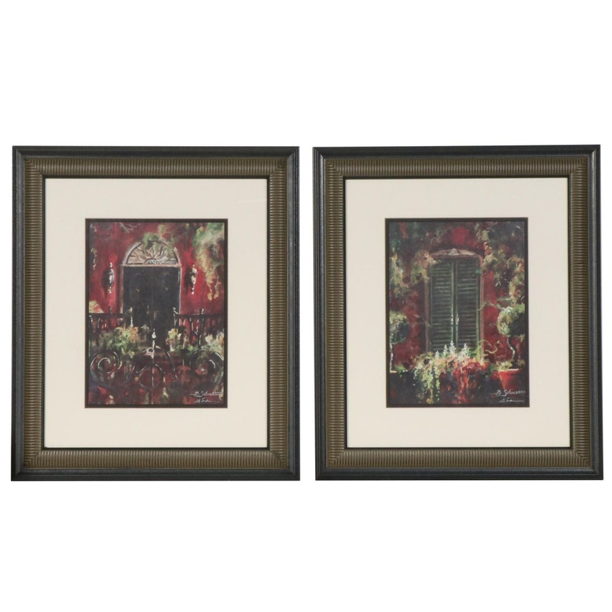 Bobby Sikes Offset Lithographs of Floral Balconies, 2000
