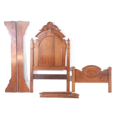 Victorian Walnut Twin Size Bed, Late 19th Century