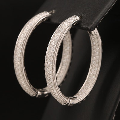 14K 3.10 CTW Pavé Diamond Inside-Out Hoop Earrings