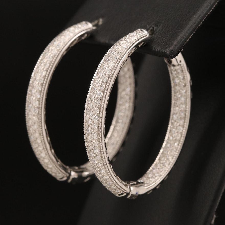 14K 3.10 CTW Pavé Diamond Inside-Out Hoop Earrings