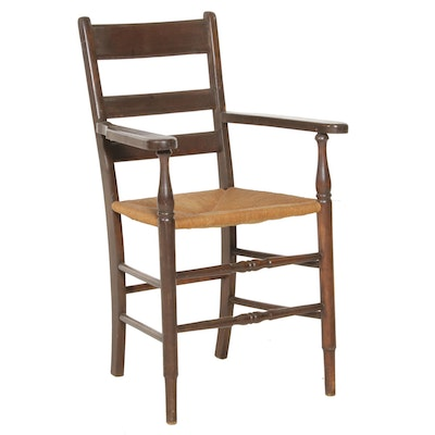 Ladderback Shaker Armchair with Woven Jute Seat, Antique