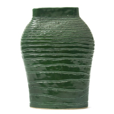 G. Carder Hand Thrown Green Glaze Ceramic Vase, 1994