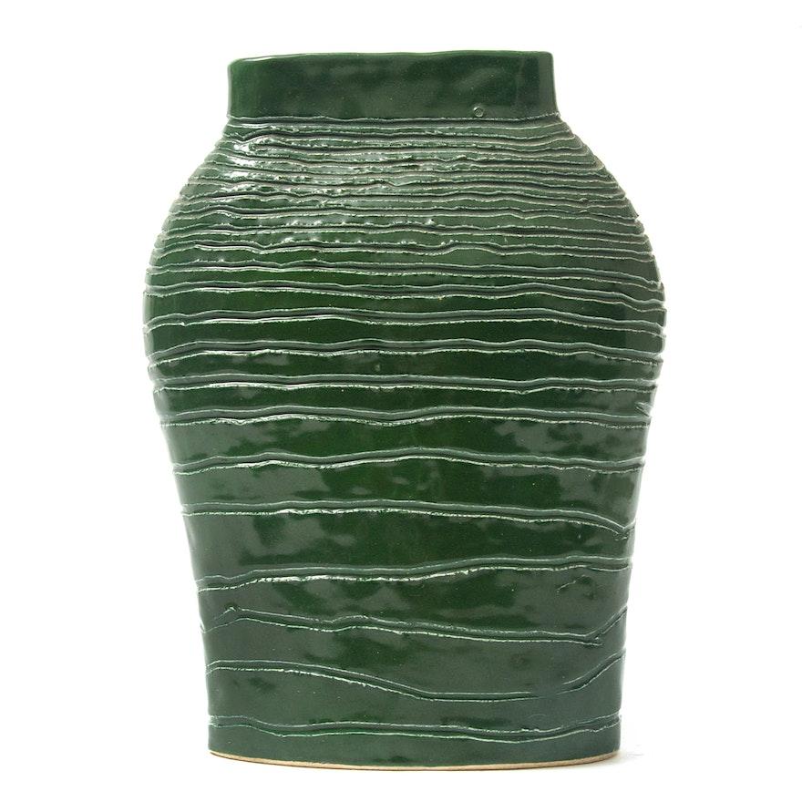 G. Carder Hand Thrown Green Glaze Ceramic Vase, 1994
