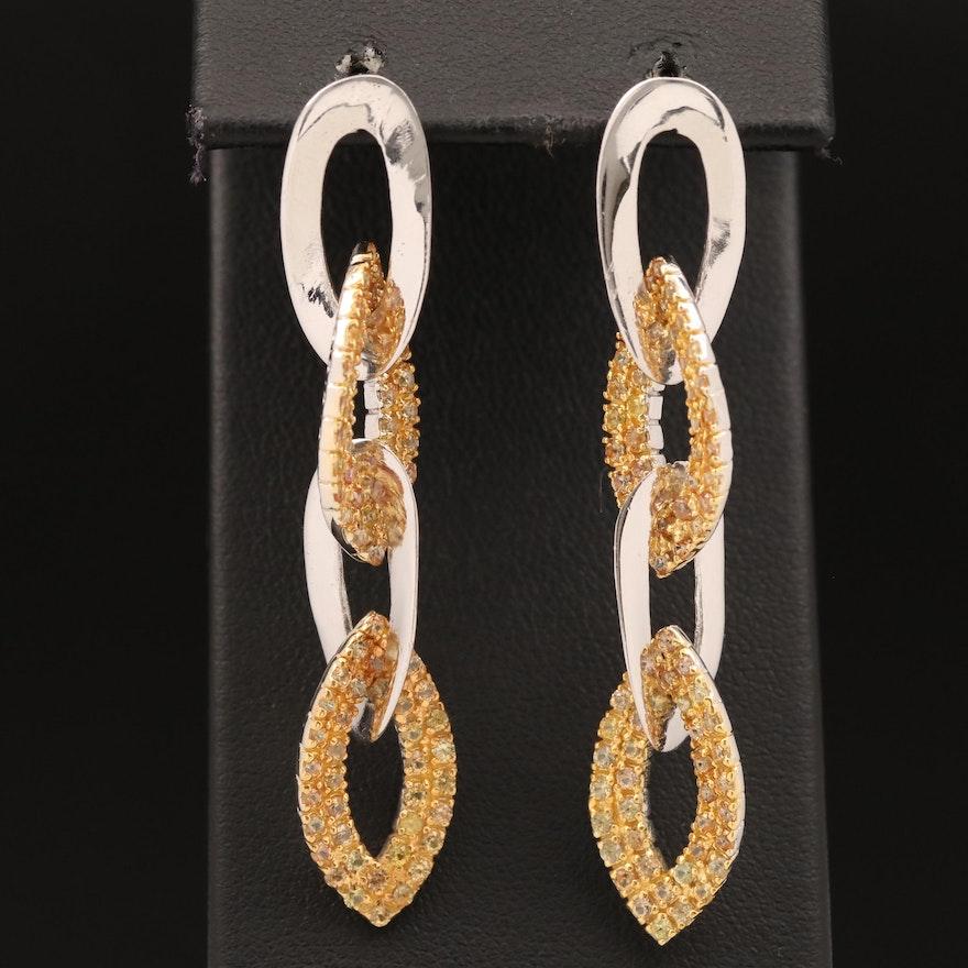 Sterling Sapphire Drop Earrings