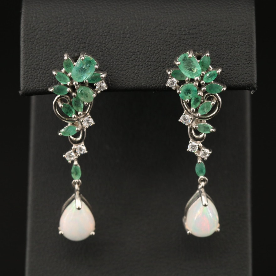 Sterling Opal, Emerald and Cubic Zirconia Dangle Earrings