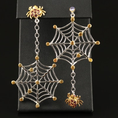 Sterling Silver Tanzanite, Sapphire and Garnet Spider and Web Earrings