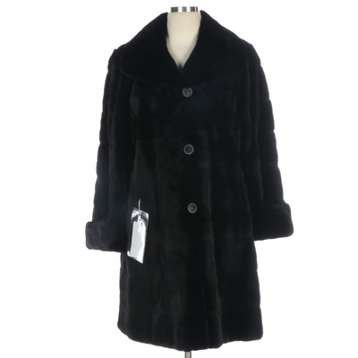 Reversible Black Dyed Mink Fur and Black Silk Taffeta Three-Quarter Length Coat