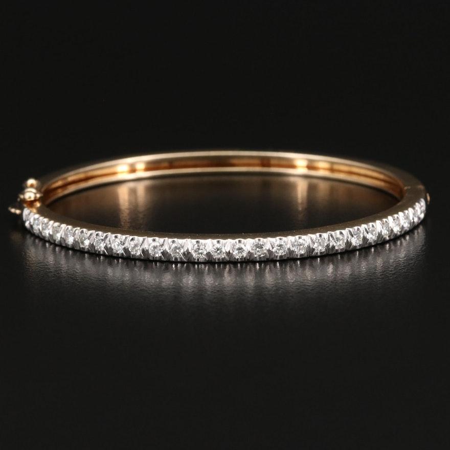 14K 1.04 CTW Diamond Hinged Bangle Bracelet