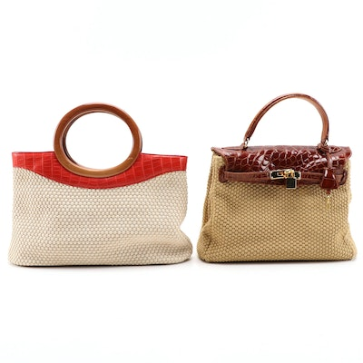 Suarez New York Crocodile and Alligator Skin Woven Corde Bags