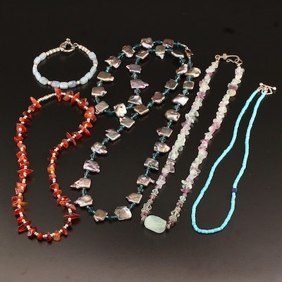 Assorted Necklaces and Bracelets Featuring Sterling Silver and Gemstone Accents