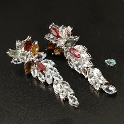 Sterling Aquamarine and Tourmaline Drop Earrings