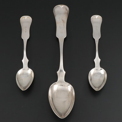 N.L. Hazen Coin Silver Fiddle Handle Serving and Teaspoons, Early to Mid 19th C.