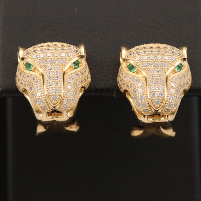 Sterling Cubic Zirconia Panther Head Earrings