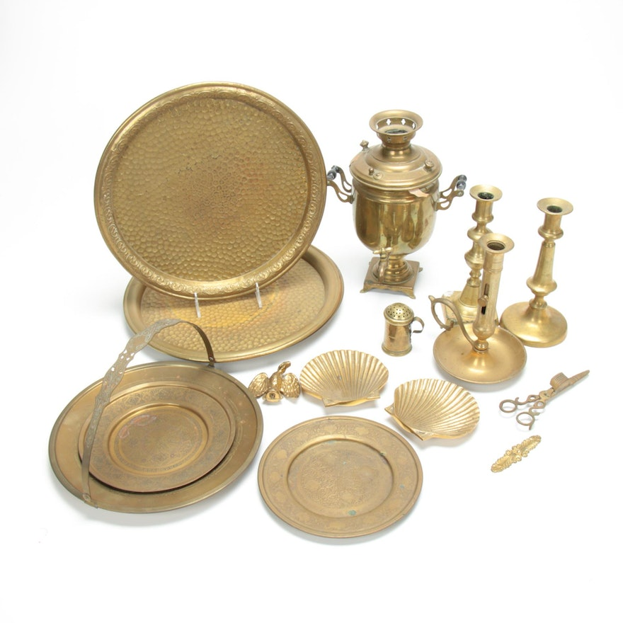 Brass Antique Candlesticks and other Tableware Including Hammered Trays