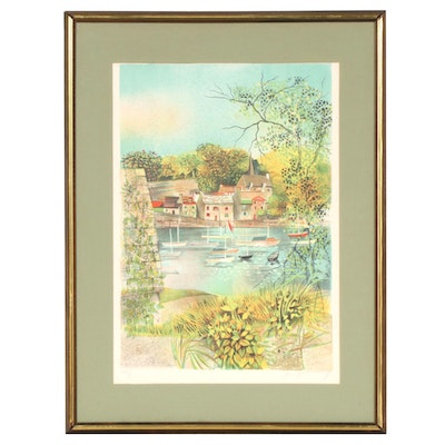 Claude Grosperrin Color Lithograph of Riverside Village Scene, 20th Century