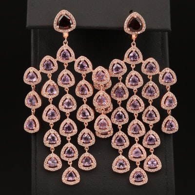Sterling Silver Amethyst, Garnet and Cubic Zirconia Chandelier Earrings