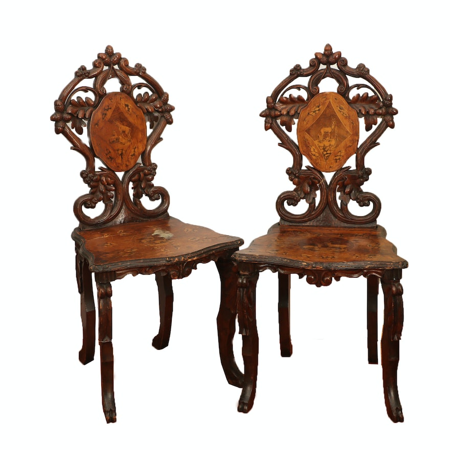 Swiss Black Forest Walnut and Penwork Marquetry Side Chairs, Late 19th Century