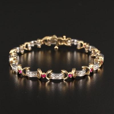 14K Ruby and Diamond Bracelet