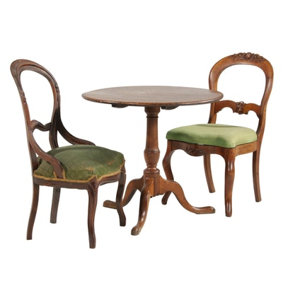 Tilt-Top Table with Balloon Back Chairs, Antique