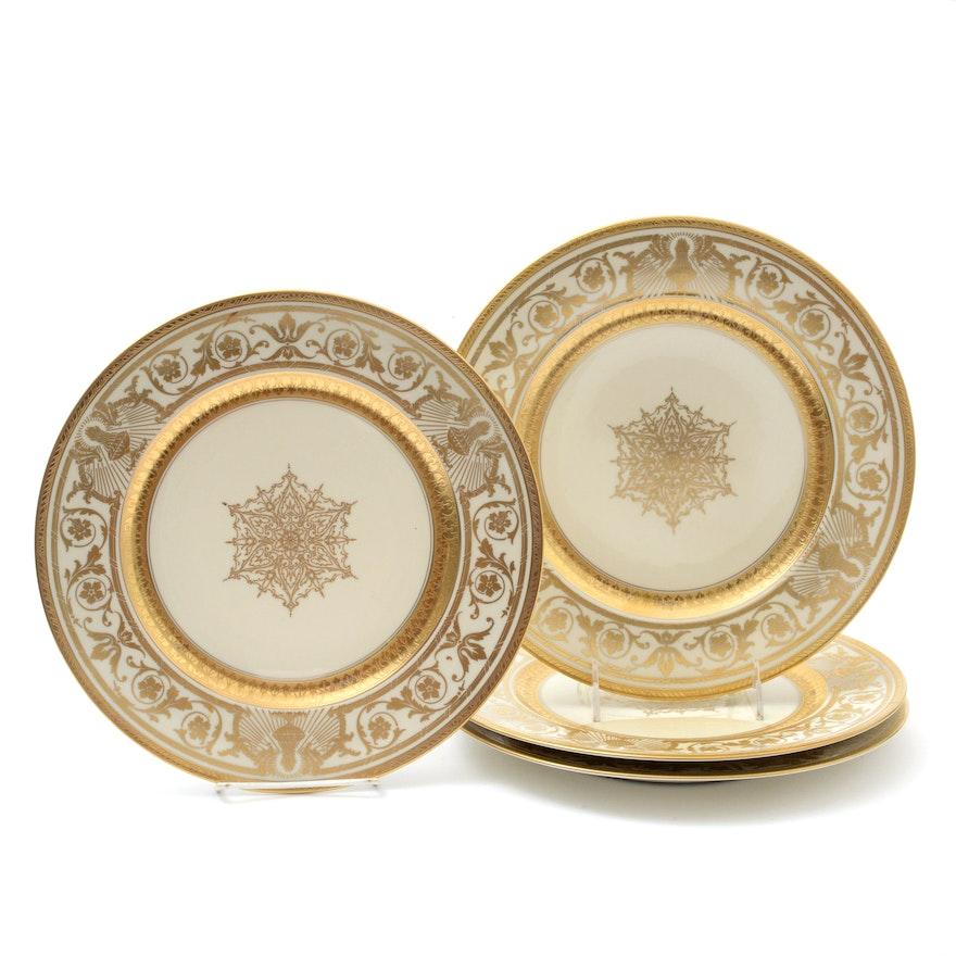 Heinrich & Co. Gold Encrusted Porcelain Dinner Plates, 1930s