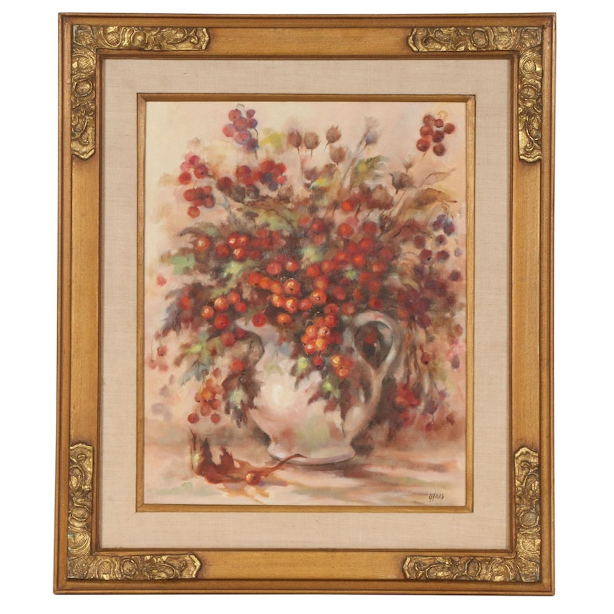 Still Life of Berry Branches in Pitcher Oil Painting, Late 20th Century