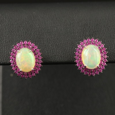 Sterling Opal and Ruby Double Halo Earrings
