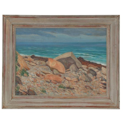 Rocky Shoreline Landscape Oil Painting, Mid to Late 20th Century