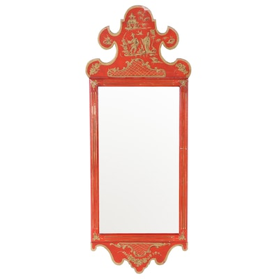 LaBarge Red Chinoiserie Mirror, Mid 20th Century