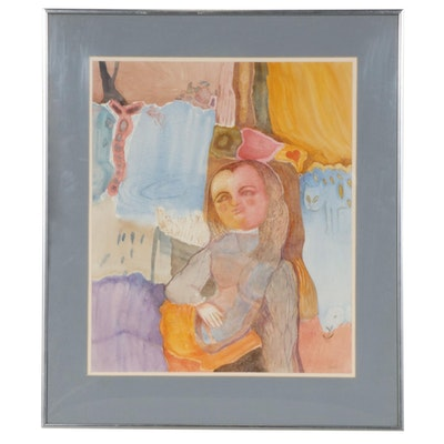 Abstract Watercolor Painting of a Young Girl