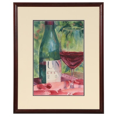 Linda Unti Still Life Watercolor Painting of Bottle of Wine and Glass