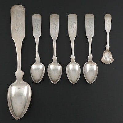 Nathan Lord Hazen Coin Silver Fiddle Handle Spoons, Early to Mid 19th C.