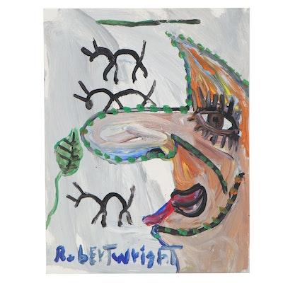 Robert Wright Abstract Portrait Acrylic Painting, 21st Century