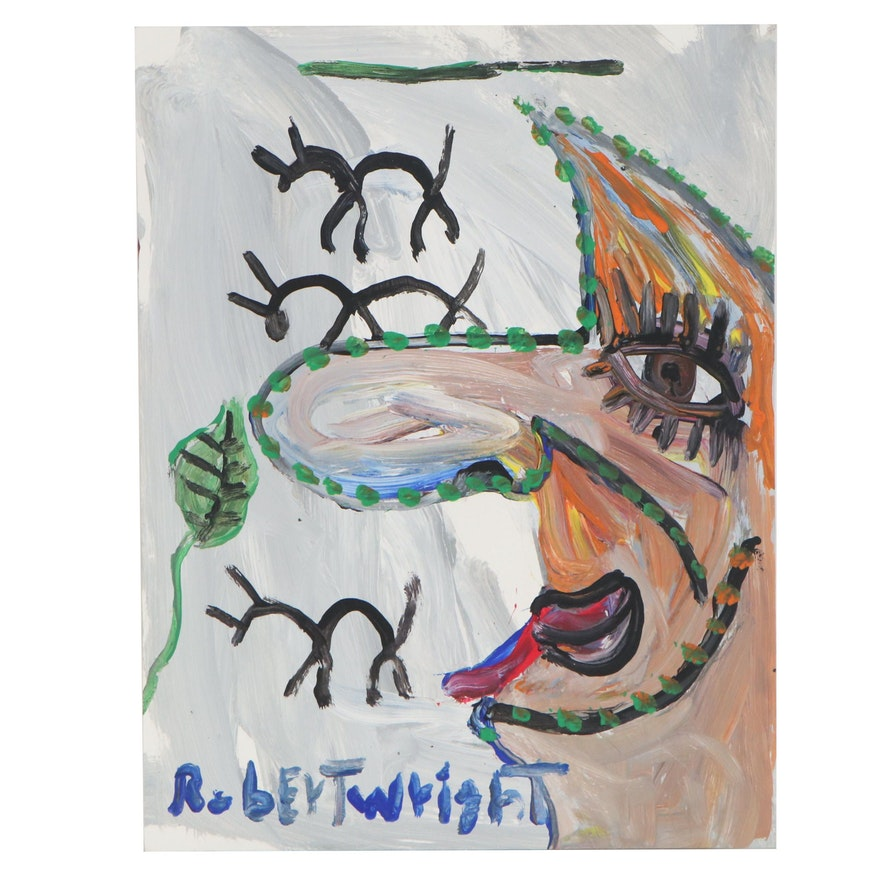 Robert Wright Abstract Portrait Acrylic Painting, 21st Century