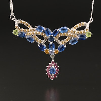 Sterling Silver Peridot, Sapphire and Kyanite Stationary Pendant Necklace