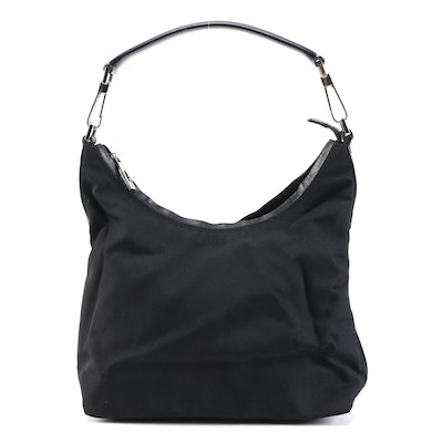 Gucci Black Canvas Hobo Bag with Leather Trim