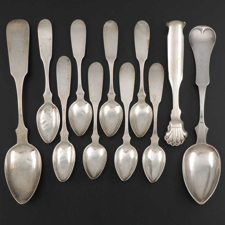 E. Kinsey Coin Silver Fiddle Handle Spoons and Sugar Tongs, Mid-19th Century
