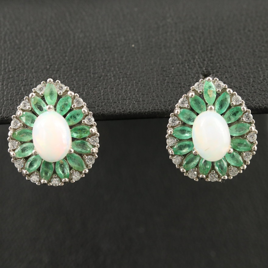 Sterling Opal, Emerald and Cubic Zirconia Earrings