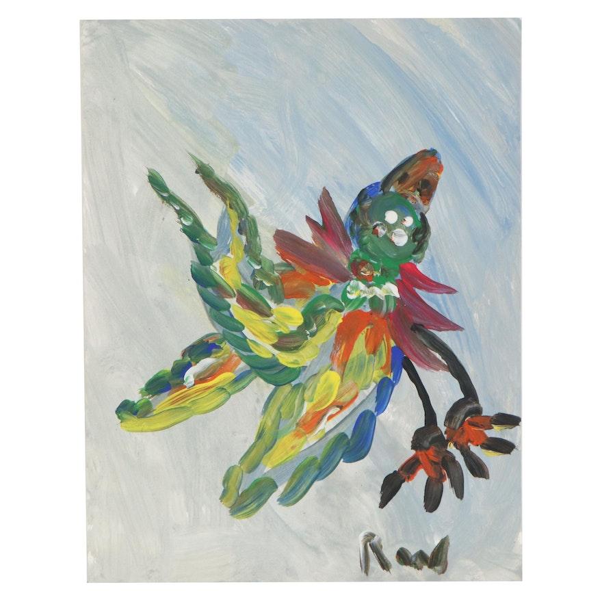 Robert Wright Folk Art Acrylic Painting of a Bird, 21st Century