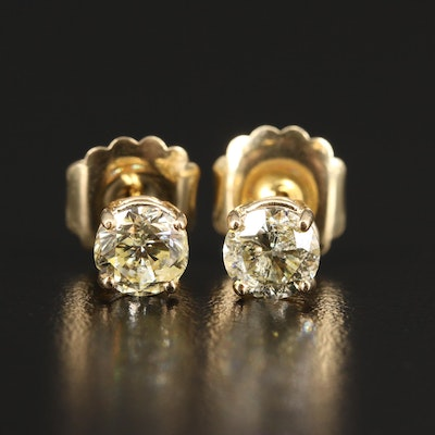 14K 2.12 CTW Yellow Diamond Stud Earrings
