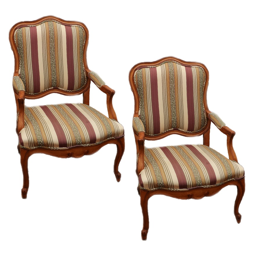 Pair of French Provincial Style Upholstered Fauteuils