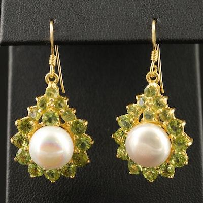 Sterling Pearl and Peridot Dangle Earrings