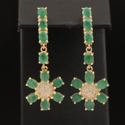 Sterling Silver Emerald and Cubic Zirconia Floral Drop Earrings