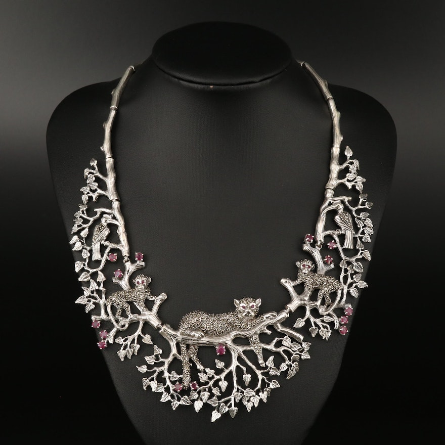 Sterling Silver Corundum and Marcasite Bib Necklace with Floral and Fauna Design
