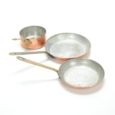 E. Dehillerin of Paris Copper Sauté and Sauce Pans, Early to Mid 20th C.