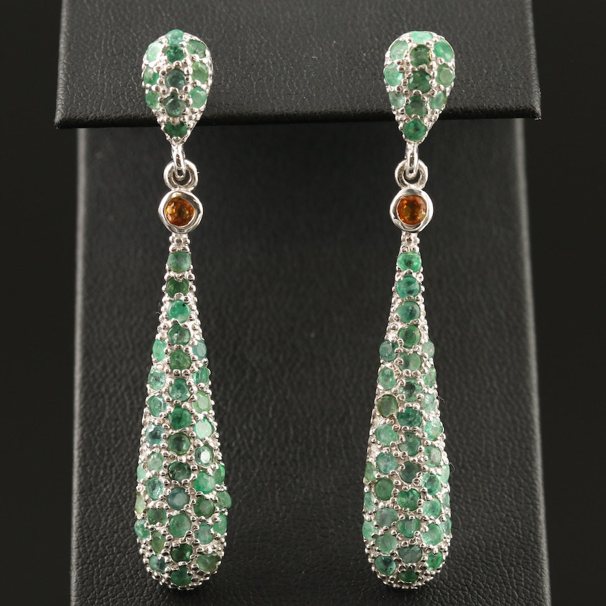 Sterling Emerald and Sapphire Dangle Earrings